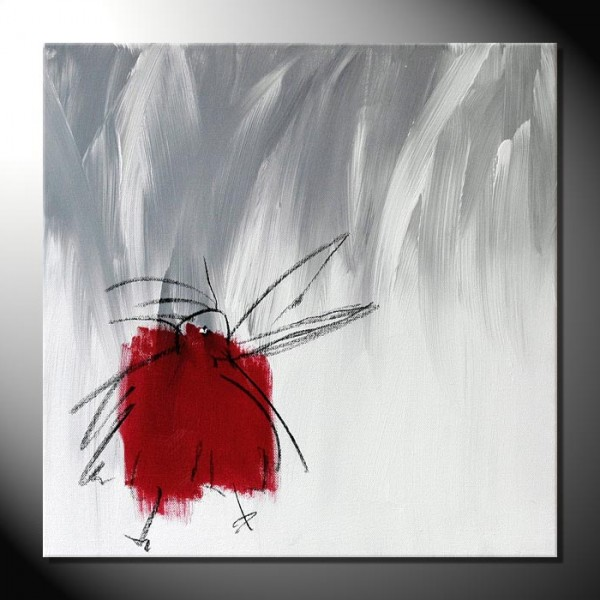 """ROTE KRÄHE VII"" Moderne Kunst – Tiere – 40 x 40 cm"