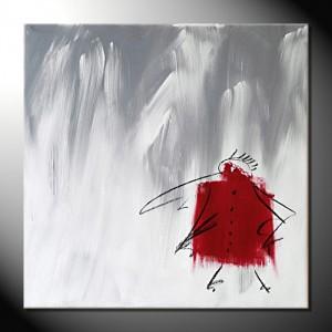 """ROTE KRÄHE VIII"" Moderne Kunst - Tiere - 40 x 40 cm"