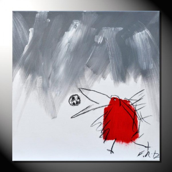 """ROTE KRÄHE 07"" Moderne Kunst – Tiere – 40 x 40 cm"