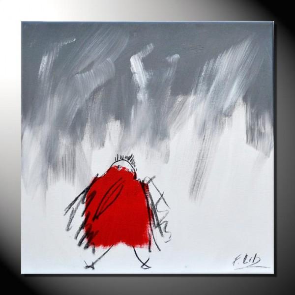 """ROTE KRÄHE 08"" Moderne Kunst – Tiere – 40 x 40 cm"