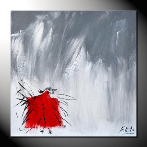 """ROTE KRÄHE 09"" Moderne Kunst – Tiere – 40 x 40 cm"