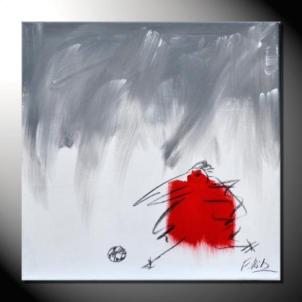 """ROTE KRÄHE 10"" Moderne Kunst – Tiere – 40 x 40 cm"