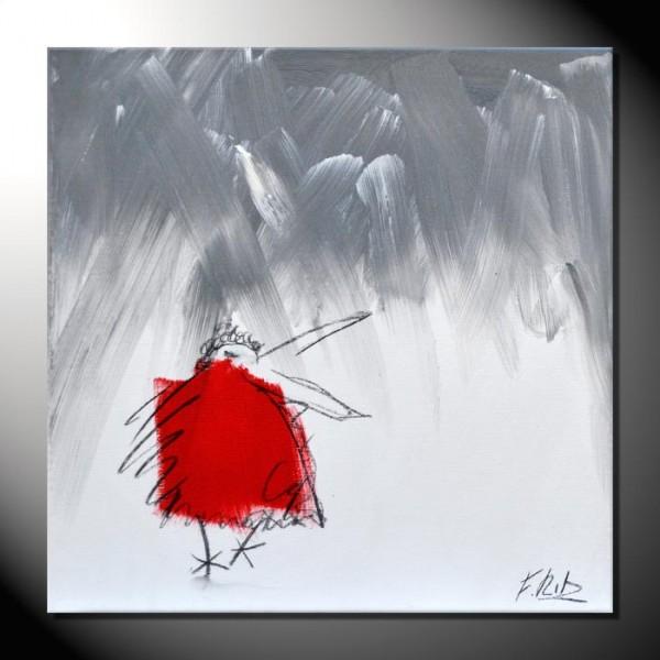 """ROTE KRÄHE 12"" Moderne Kunst – Tiere – 40 x 40 cm"