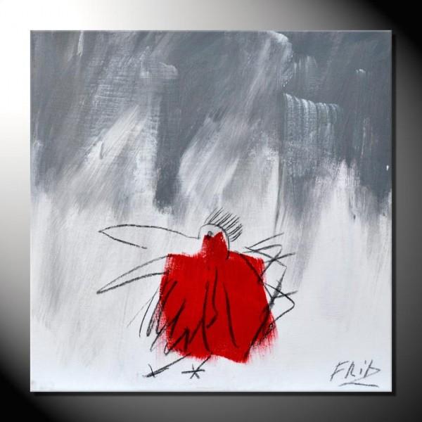 """ROTE KRÄHE 13"" Moderne Kunst – Tiere – 40 x 40 cm"