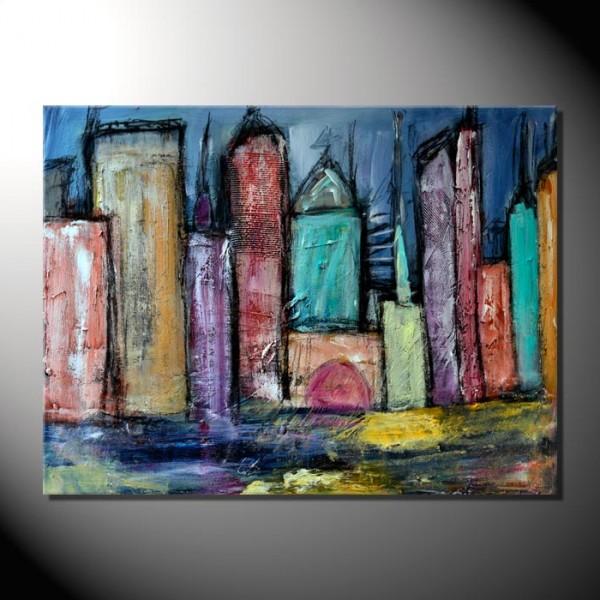 """Blue Skyline""-60 x 80 cm-Strukturbild"