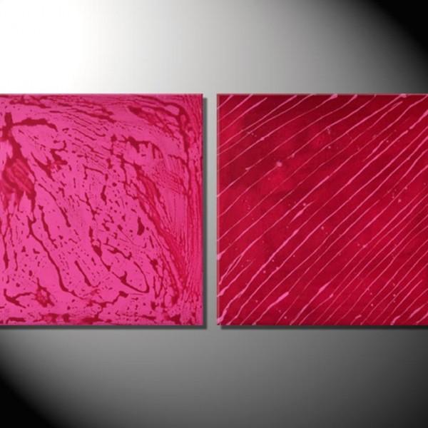 """Kunstbilder """"Think Pink"""" Abstrakte Bilder-50 x 100 cm"""