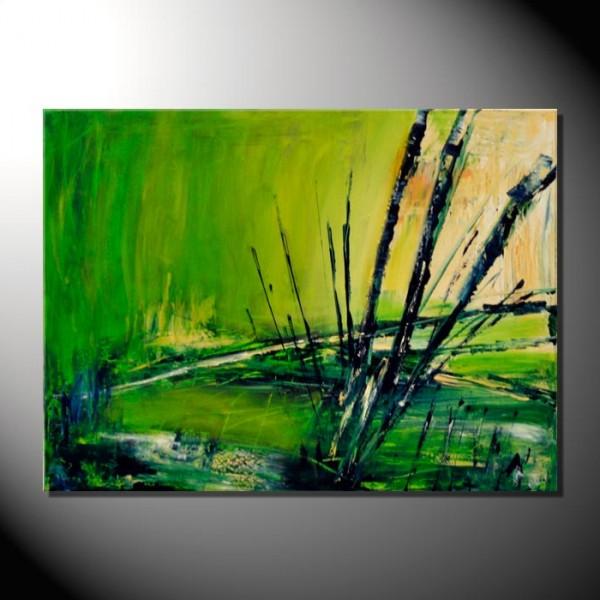 """Kunstbild """"Green Lake"""" Abstrakte Bilder 60 x 80 cm"""