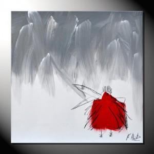 """ROTE KRÄHE 11"" Moderne Kunst - Tiere - 40 x 40 cm"